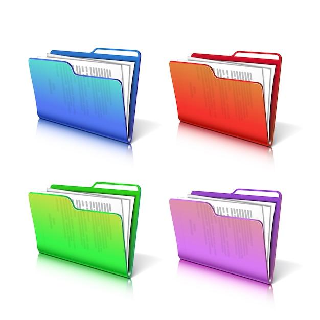 Satz des bunten transparenten ordners mit papieren. Premium Vektoren