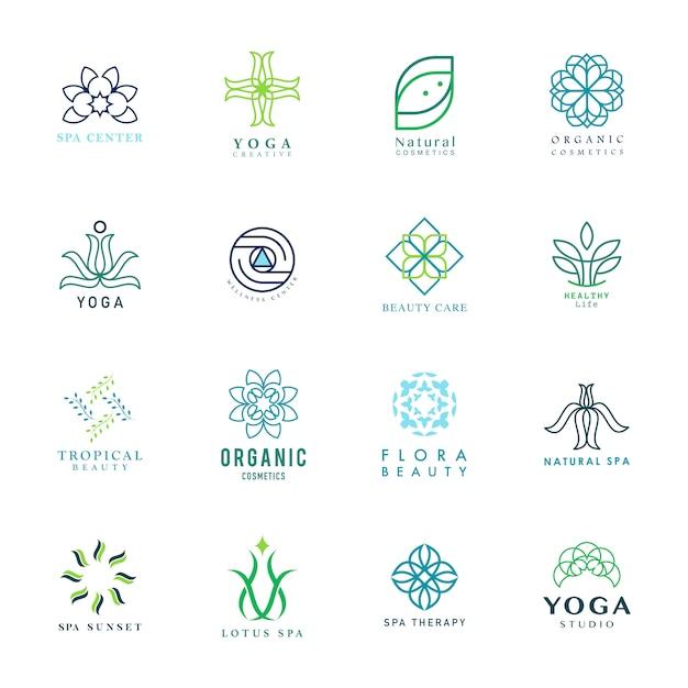 Satz des bunten yoga- und badekurortlogovektors Kostenlosen Vektoren