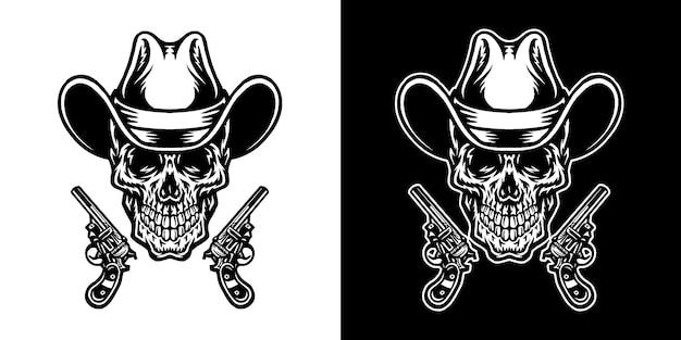 Satz des cowboyschädels, lokalisiert auf dunklem und hellem hintergrund Premium Vektoren