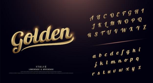 Satz des eleganten goldfarbigen metallchrom-alphabetschriftsatzes Premium Vektoren