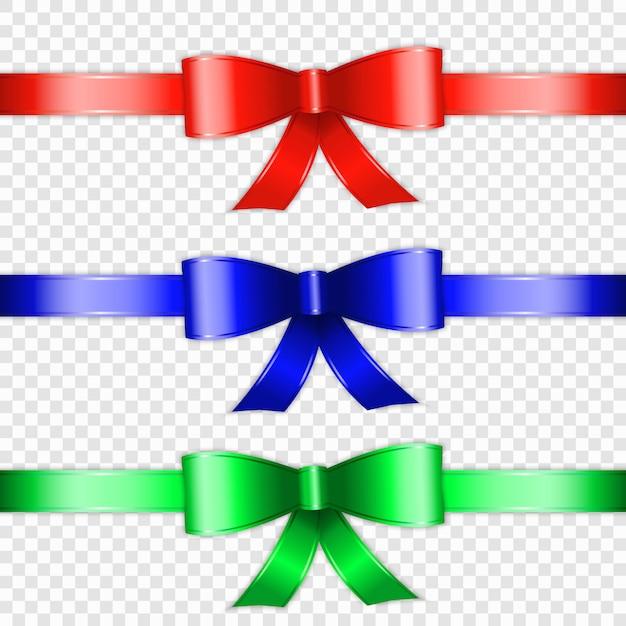 Satz des farbbogenknotens und -farbbands lokalisiert auf transparente hintergrund Premium Vektoren