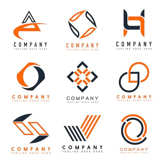 Satz des Firmenlogo-Designideenvektors Kostenlose Vektoren