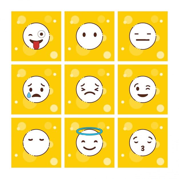 Satz des gelben emojis-designvektors Kostenlosen Vektoren