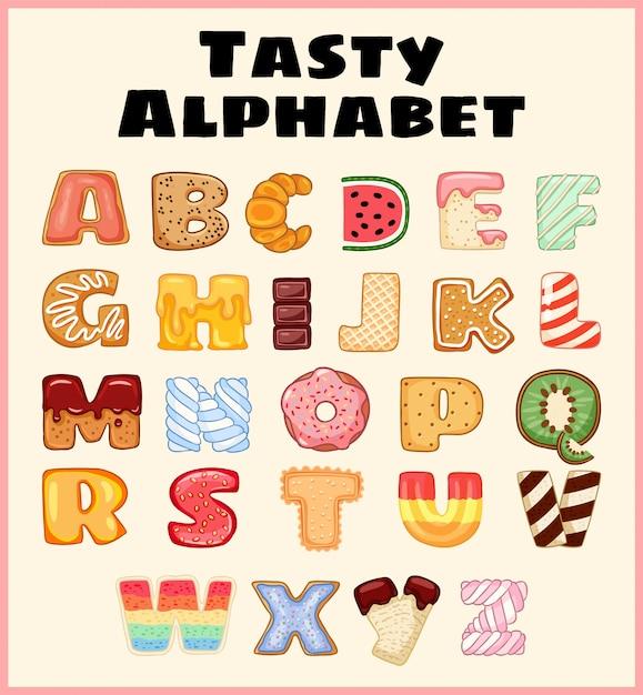 Satz des geschmackvollen alphabetes. köstlich, süß, wie donuts, glasiert, schokoladig, lecker, lecker, geformte buchstaben. Premium Vektoren