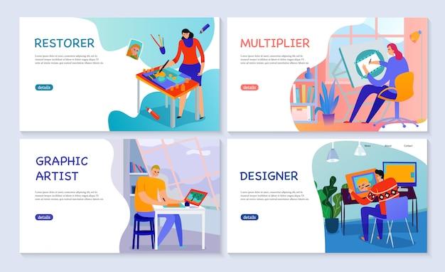 Satz des grafikkünstler-wiederherstellermultiplikators und -designers der flachen fahnen kreativer berufe lokalisiert Kostenlosen Vektoren