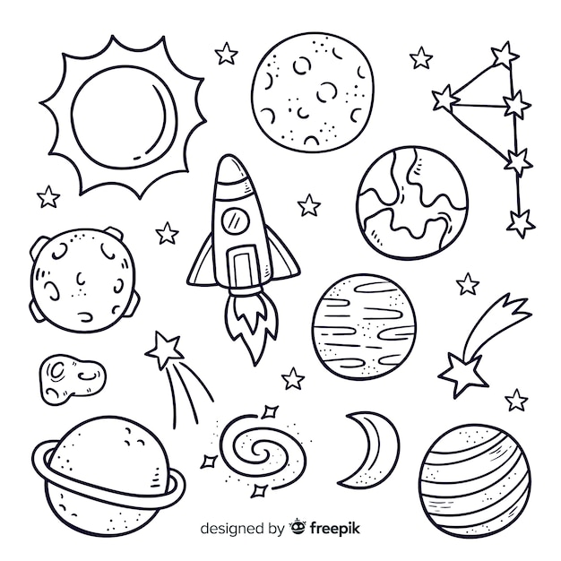 Satz des hand gezeichneten planeten in der gekritzelart Premium Vektoren