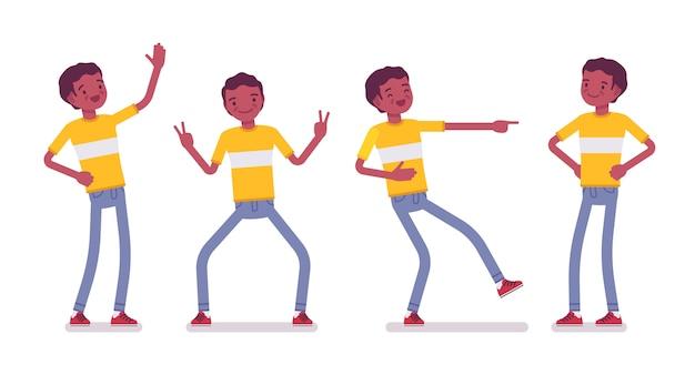 Satz des jungen mannes des schwarzen oder des afroamerikaners, positive gefühle Premium Vektoren