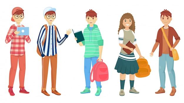 Satz des jungen studenten fünf, der schultasche in stehender haltung hält Premium Vektoren