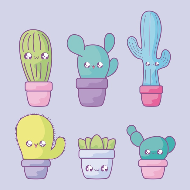 Satz des kaktus tropisch in topfpflanze kawaii art Premium Vektoren