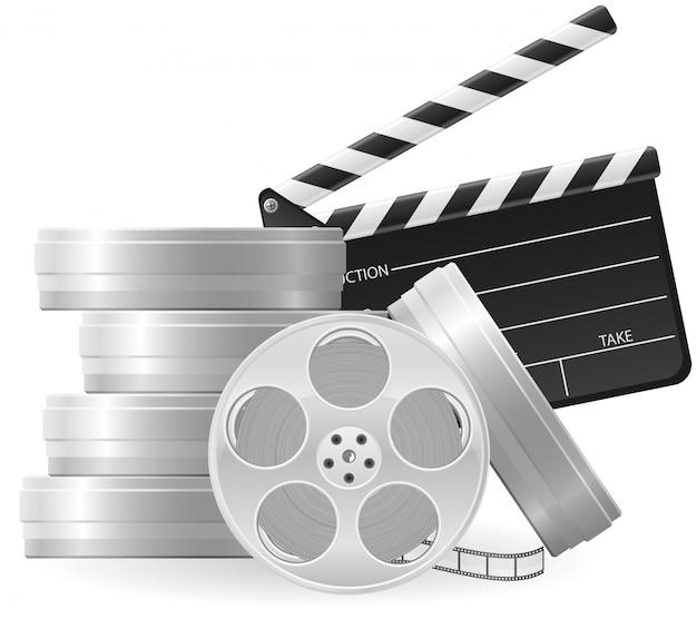 Satz des kinematographiekinos und des films vector illustration Premium Vektoren
