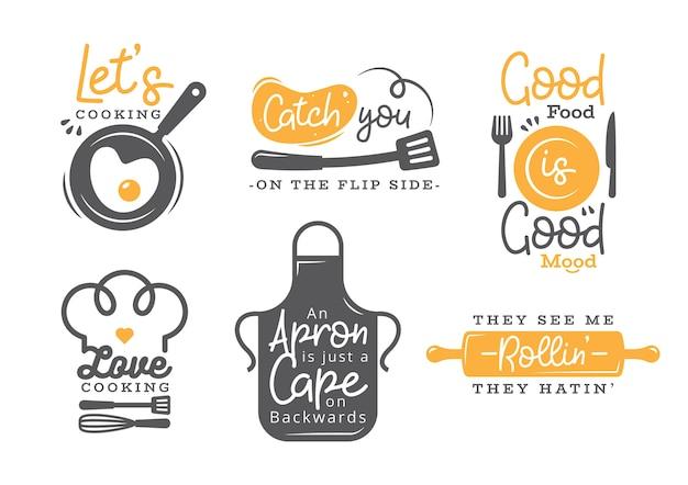 Satz des kochenden zitat-aufklebers, der typografie und der beschriftung Premium Vektoren