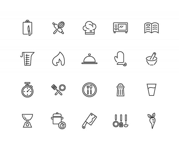 Satz des kochens der in verbindung stehenden linie ikonen. Premium Vektoren
