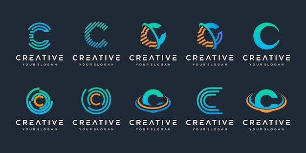 Satz des kreativen buchstaben c-logos Premium Vektoren