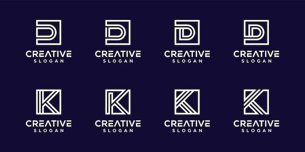 Satz des kreativen buchstaben k, d monogrammlogos Premium Vektoren