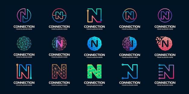 Satz des kreativen buchstabens n modern digital technology logo Premium Vektoren