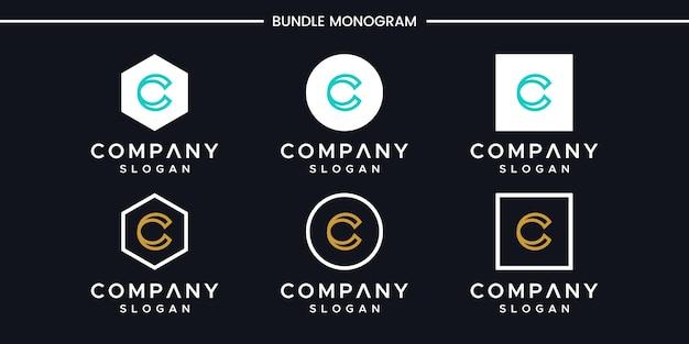 Satz des kreativen monogrammbuchstaben c logoentwurfs Premium Vektoren