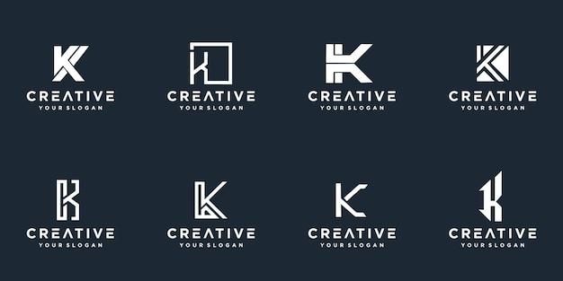 Satz des kreativen monogrammbuchstaben k-logos. Premium Vektoren