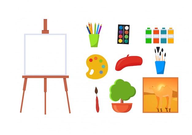 Satz des künstlers im kunststudio Premium Vektoren