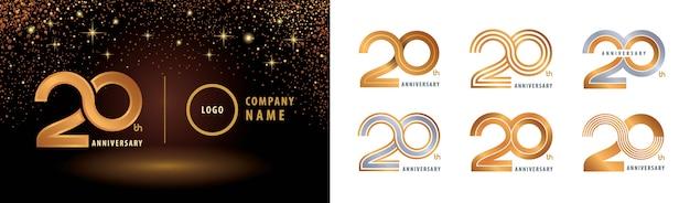 Satz des logos zum 20. jahrestag, 20 jahre jubiläumsfeier Premium Vektoren
