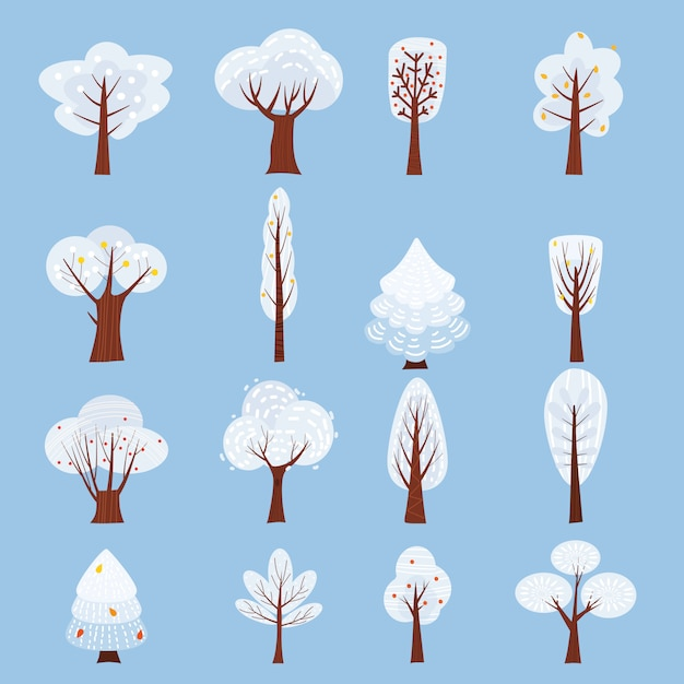 Satz des lokalisierten winterbaums verzieren stilisiertes, den schnee, nackt. Premium Vektoren