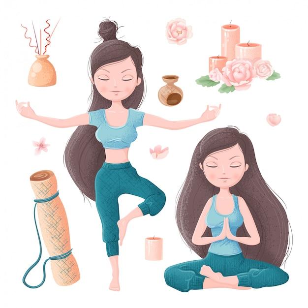 Satz des mädchens in den yoga asanas und im zubehör für ayurveda- und pfingstrosenblumen Premium Vektoren