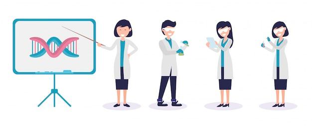 Satz des männlichen und weiblichen wissenschaftler- und chemielaborantillustrations-prämienvektors Premium Vektoren