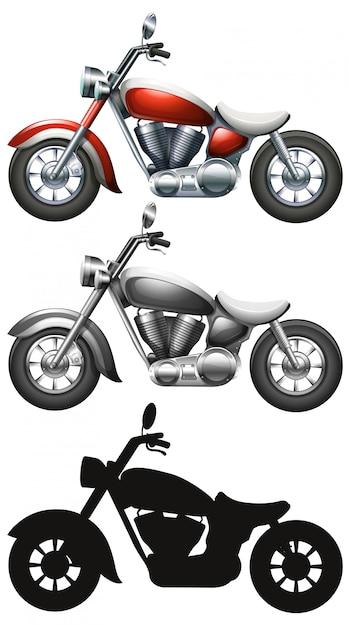 Satz des motorrades auf weißem hintergrund Kostenlosen Vektoren