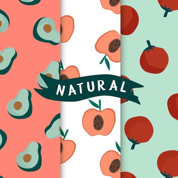 Satz des nahtlosen mustervektors der natürlichen frucht Kostenlosen Vektoren