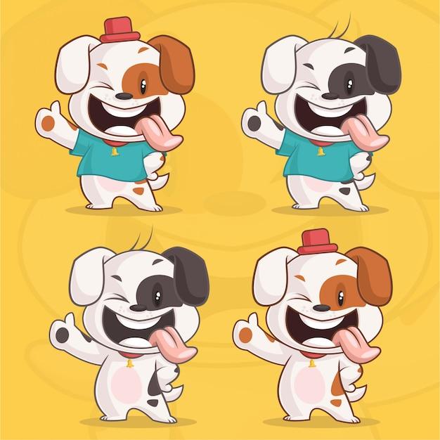 Satz des netten glücklichen hundecharakters Premium Vektoren