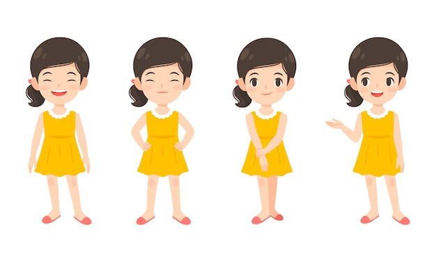 Satz des netten mädchens im gelben kleid Premium Vektoren