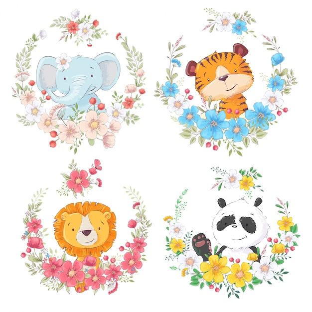 Satz des niedlichen tierelefant-tigerlöwes und -pandas der karikatur in den blumenkränzen für kinder clipart. Premium Vektoren