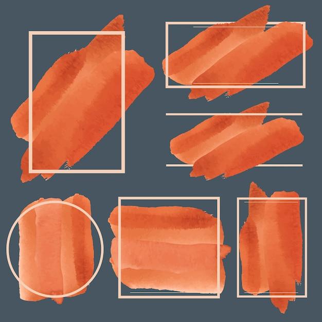 Satz des orange aquarellfahnen-designvektors Kostenlosen Vektoren