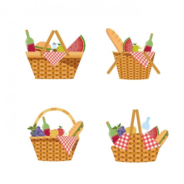 Satz des picknickkorbes mit lebensmittel und tischdecke Kostenlosen Vektoren