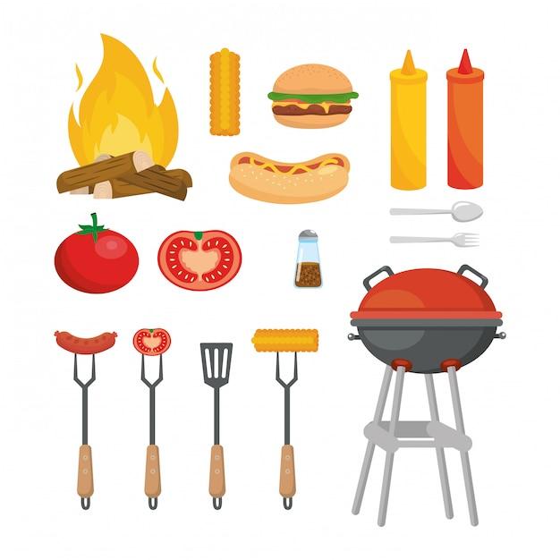 Satz des picknicklebensmittelsnacks mit gegrillt Kostenlosen Vektoren