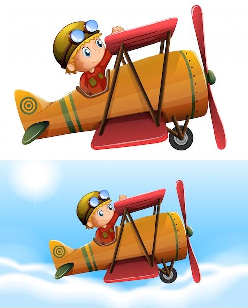 Satz des piloten klassisches flugzeug reiten Kostenlosen Vektoren