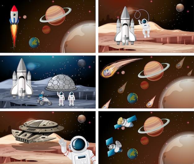 Satz des planetenraumszenen-hintergrundsatzes Kostenlosen Vektoren