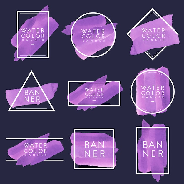 Satz des purpurroten aquarellfahnen-designvektors Kostenlosen Vektoren