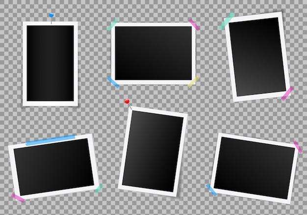 Satz des quadratischen fotorahmens mit schatten. Premium Vektoren