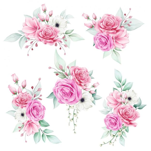 Satz des romantischen aquarellblumenstraußes Premium Vektoren