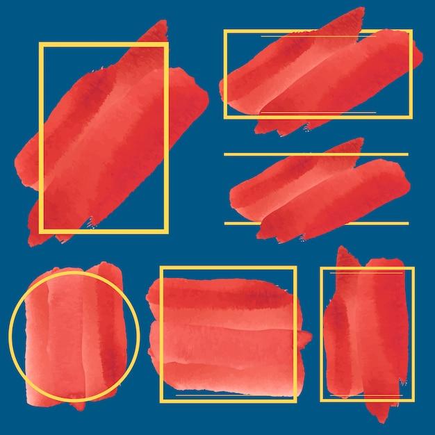 Satz des roten aquarellfahnen-designvektors Kostenlosen Vektoren