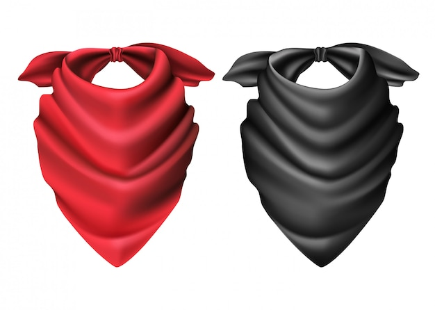 Satz des roten und schwarzen schals des cowboys. Premium Vektoren