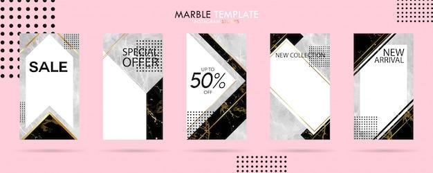 Satz des social media-geschichten-schablonensatzes mit modischer marmorluxusbeschaffenheit Premium Vektoren