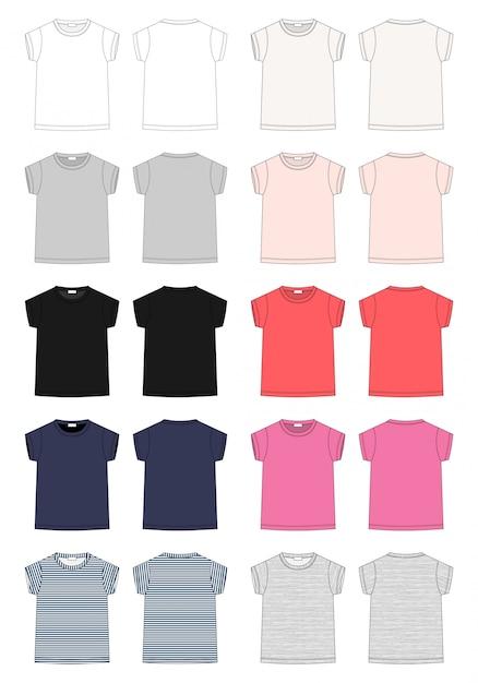 Satz des t-shirts der entwurfstechnischen skizze kinder Premium Vektoren