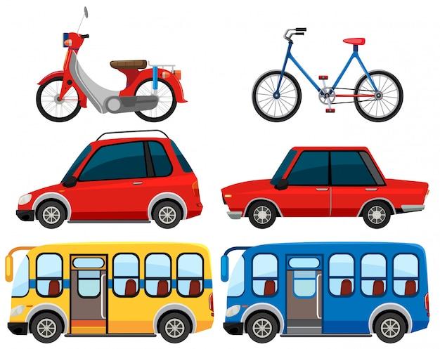Satz des unterschiedlichen fahrzeugs Premium Vektoren