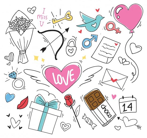 Satz des valentinsgrußgekritzelelements Premium Vektoren