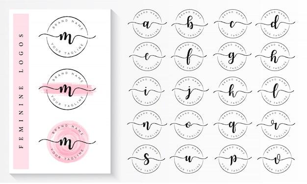 Satz des weiblichen logo-branding-schablonenvektors Premium Vektoren