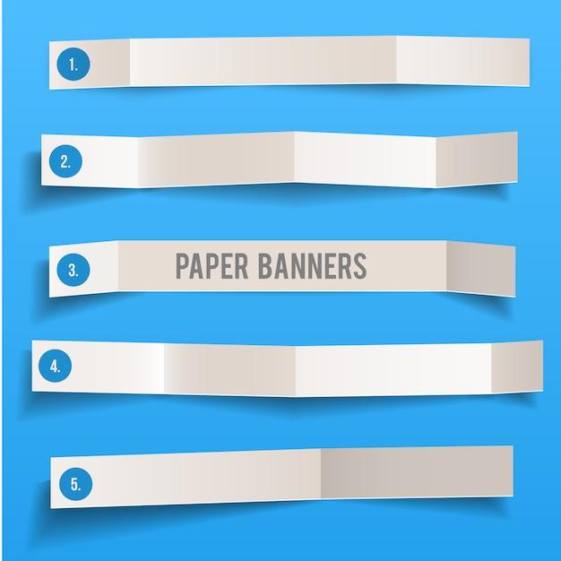 Satz des weißen vektors des leeren papiers faltete fahnen Premium Vektoren