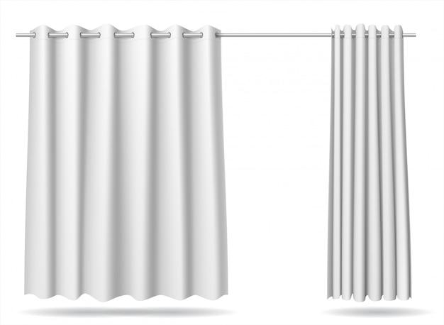 Satz des weißen vorhangumkleideraum-speicherkrankenhauses Premium Vektoren