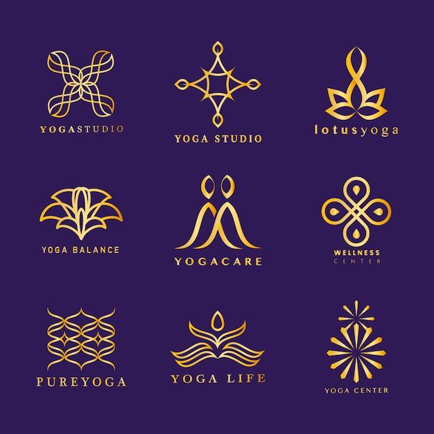 Satz des yoga-logovektors Kostenlosen Vektoren