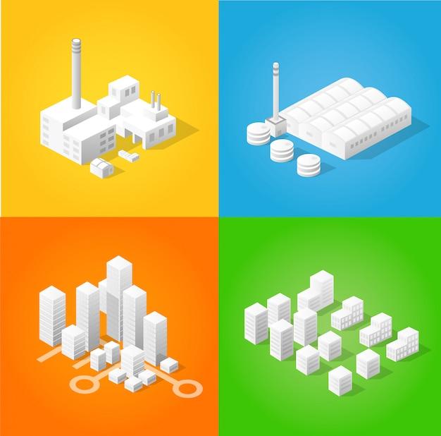 Satz designvorlagen, designelemente, gebäude mit isometrischen objekten Premium Vektoren